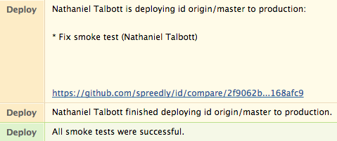 Smoke Test Success in Hipchat